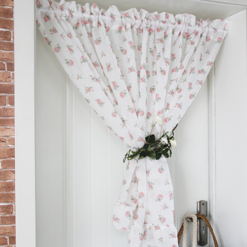 American style short door curtains French small rose haircord kitchen coffee curtains cortinas for window 150*40cm/60cm(China (Mainland))