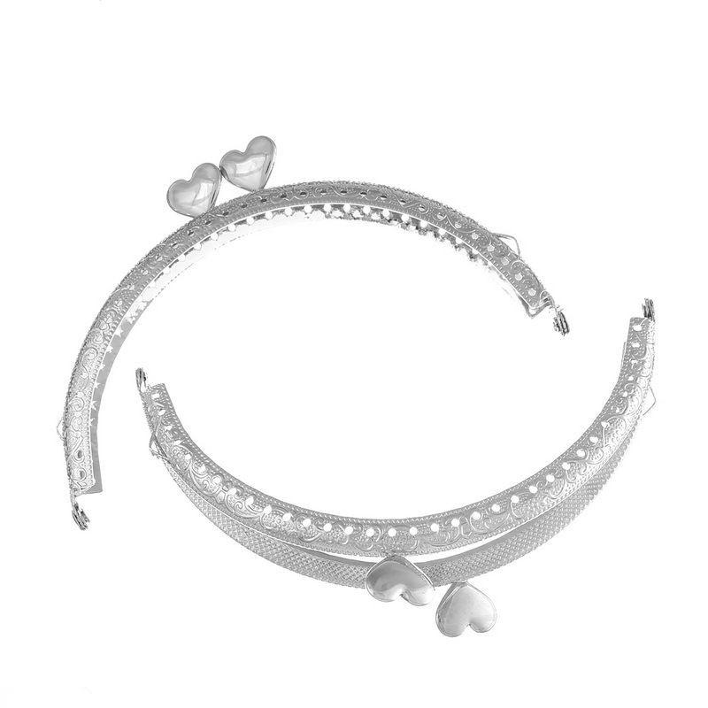 100Pcs DIY Handbag Purse Bag Arch Arc Frame Kiss Clasps Silver Tone Heart Lock Clips Handle 12.6x7.5cm<br><br>Aliexpress