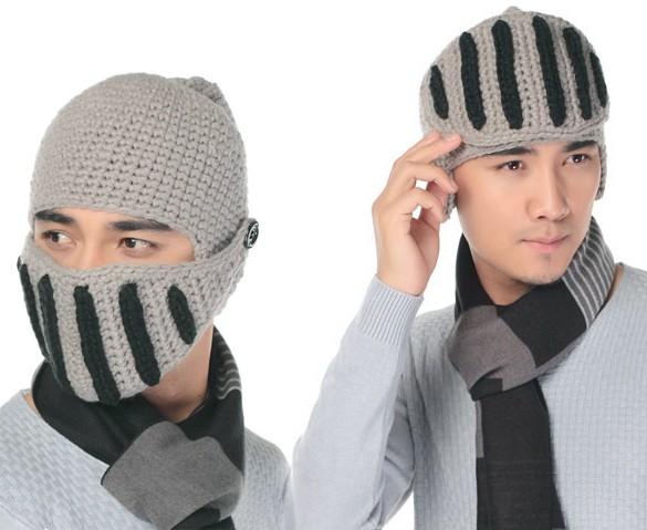 2016 Women Men Boy Buttons Crochet Knit Black Ski Beanie Wool Roman Knight Hat Mask Cap Warm Headwear(China (Mainland))