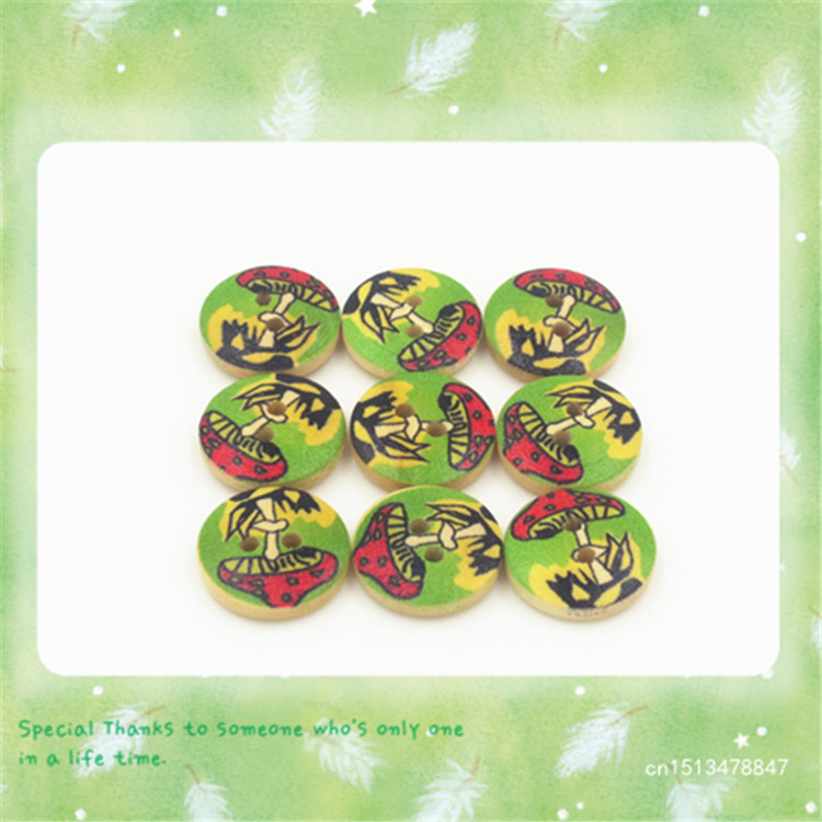 Wooden Children's Decorative Coconut tree pattern Buttons 15mm 100pcs 2015 New Fashion(China (Mainland))