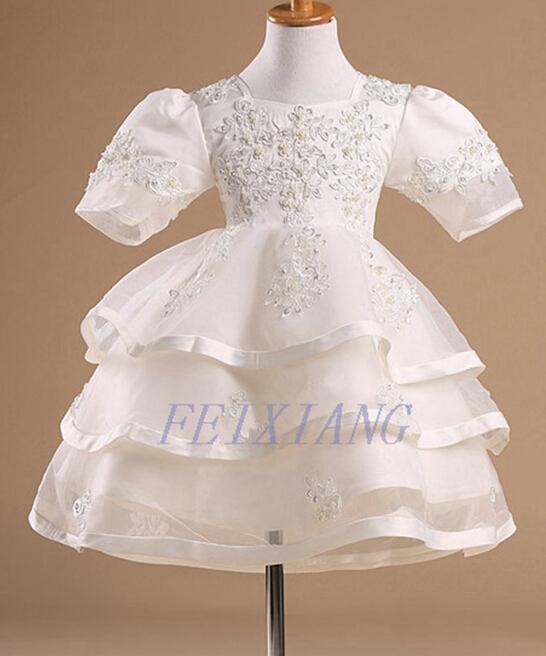 Фотография Vintage flower girl dresses for Weddings girls Glitz Beauty pageant Birthday Party Evening gowns Kids Pearls Beaded Dress F011