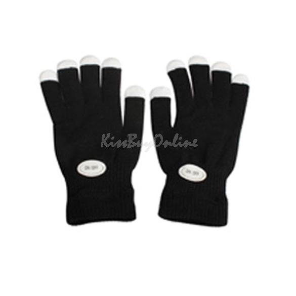 Flashing Gloves Glow 7 Mode LED Rave Light Finger Lighting Mitt Black K5BO(China (Mainland))