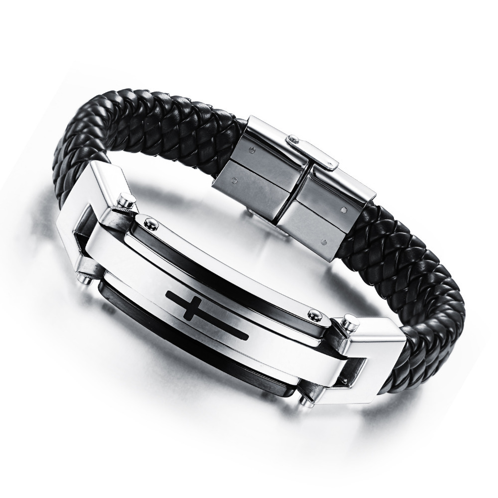 Classic Man Leather Bracelet Cross Black Punk PU Leather Bracelets Bangles Cowhide Punk Bracelet For Male Best Quality(China (Mainland))