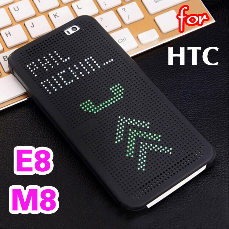 Slim Dot Bag Smart Auto Sleep Wake Up View Shell Soft Silicone Original Flip Leather Cover Shockproof Case For HTC One M8 / E8(China (Mainland))