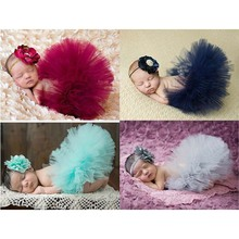 2016 NEW 4 Colors Newborn Tutu Skirt With Matching Flower Headband Stunning Newborn Photo Prop Girl Tutu Skirt(China (Mainland))