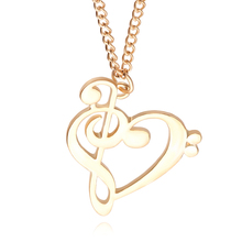 2016 new fashion women jewelry cute music heart pendant necklace best gift for girlfriend and mother's day