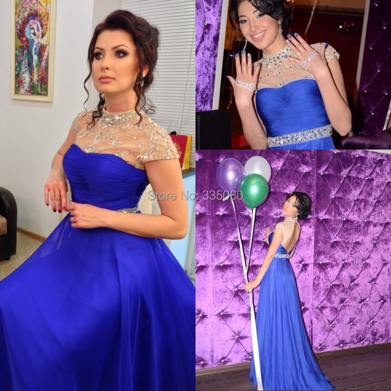 2015 Stunning High Neck Royal Blue Short Sleeves Floor Length Sheer Chiffon Beading Backless Evening Prom Party Dress - Soviva Dresses Store store