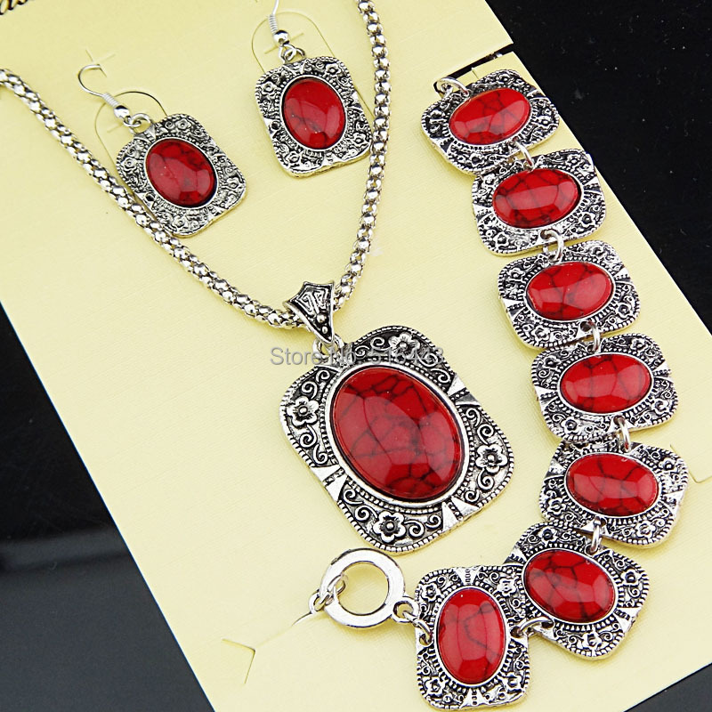 Big Promotions Antique Silver Square Rectangle Red Turquoise Natural Necklace Earrings Bracelet Vintage Jewelry Set A1004 - Edna store