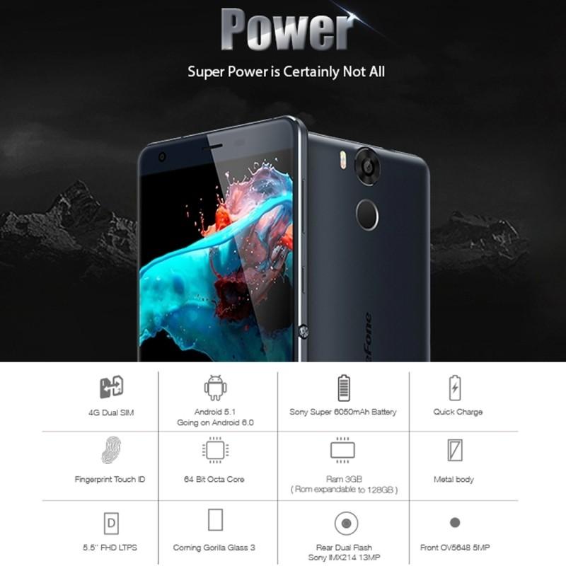 Original Ulefone Power 5.5″ FHD 1920*1080 4G Smartphone Android 5.1 64bit MT6753 Octa Core 3GB+16GB 5MP 13MP 6050mAh Cellphone