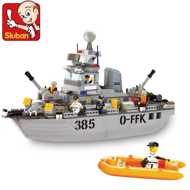 SLUBAN Sea Service Series military Destroyers building block set Compatible Lego 3D Construction Model Bricks Toys 46