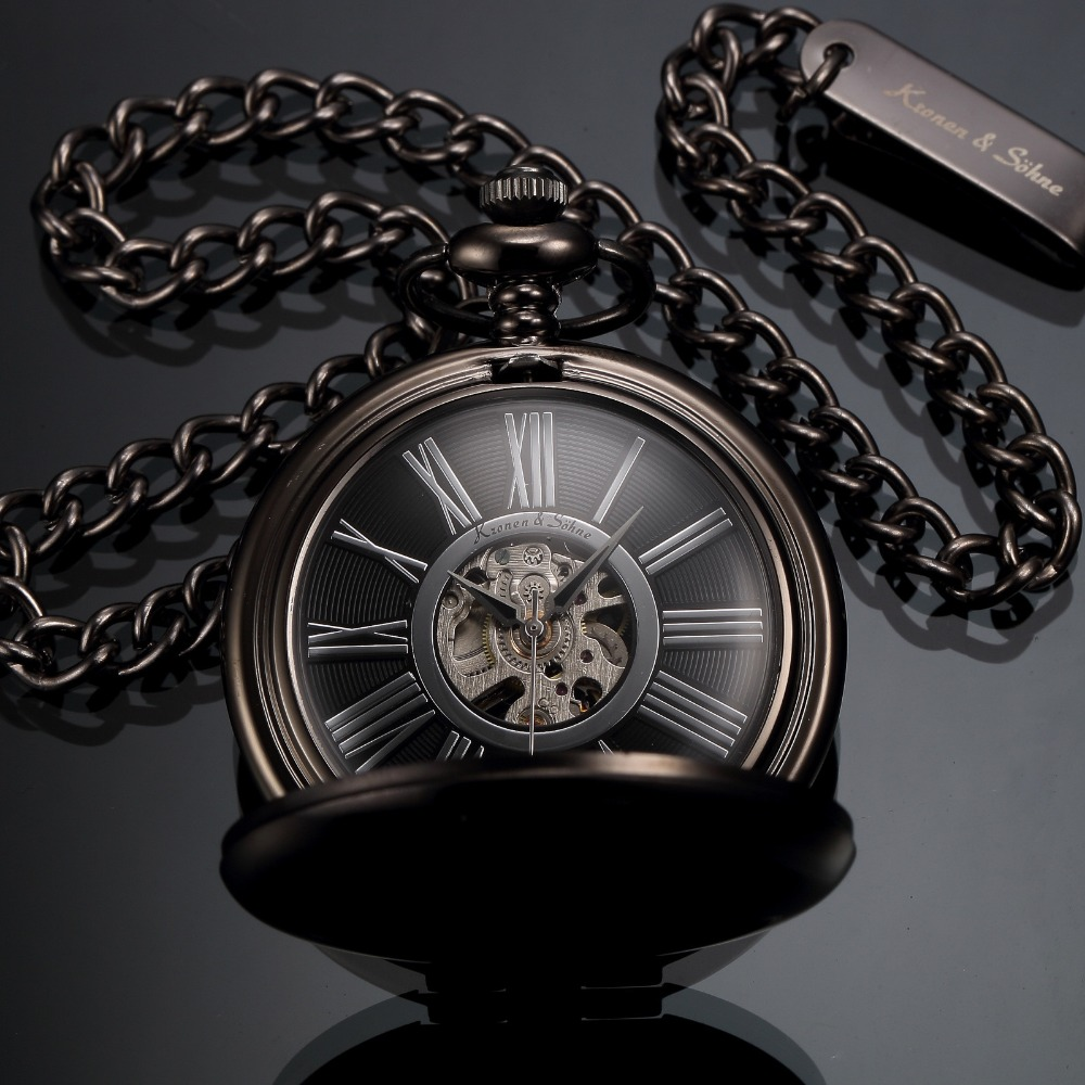 KS Antique Black Skeleton Dial Black Alloy Case Analog Hand Wind Clock Necklace Steampunk Men Mechanical