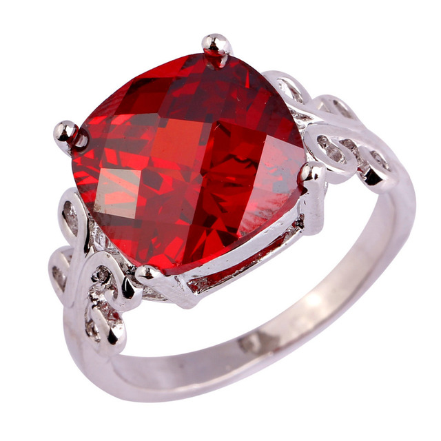 lingmei New Lady Princess Cut Garnet  Silver Ring Size 7 8 9 10 Fashion Popular Wedding Jewelry Women Party Rings Wholesale
