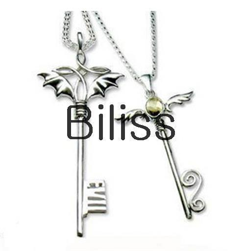 New Matching Silver Plated His & Hers Cross Angel Pendants Couple's Necklaces for Women Men Valentine's Day Gift(China (Mainland))