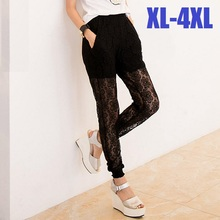 2015New Plus Size Women Lace Hollow Out Full Length Trousers Long Pencil Pants Summer Stretchy high waist legging Free ShipXXXXL(China (Mainland))