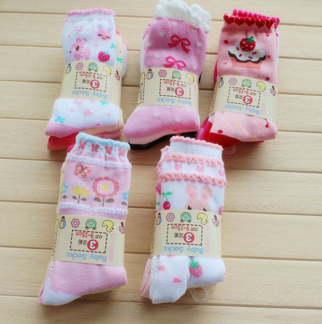 3Pcs New Born Baby Girl Boy Socks Kids Walker Socks For Children With Rubber Soles Clothes Cotton Non Slip Anti Slip For Babies(China (Mainland))