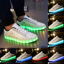 2016 Women Colorful Glowing Shoes With Lights Up Led Luminous Shoes a New Rechargeable Sole Led Shoes Adults neon Basket Led(China (Mainland))