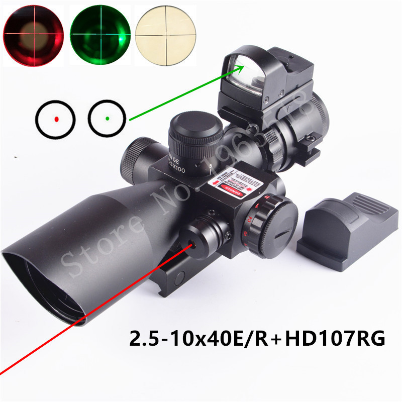 2.5-10X40 Hunting Tactical Riflescope w/ Red Laser & Holographic Green / Red Dot Sight Airsoft(China (Mainland))