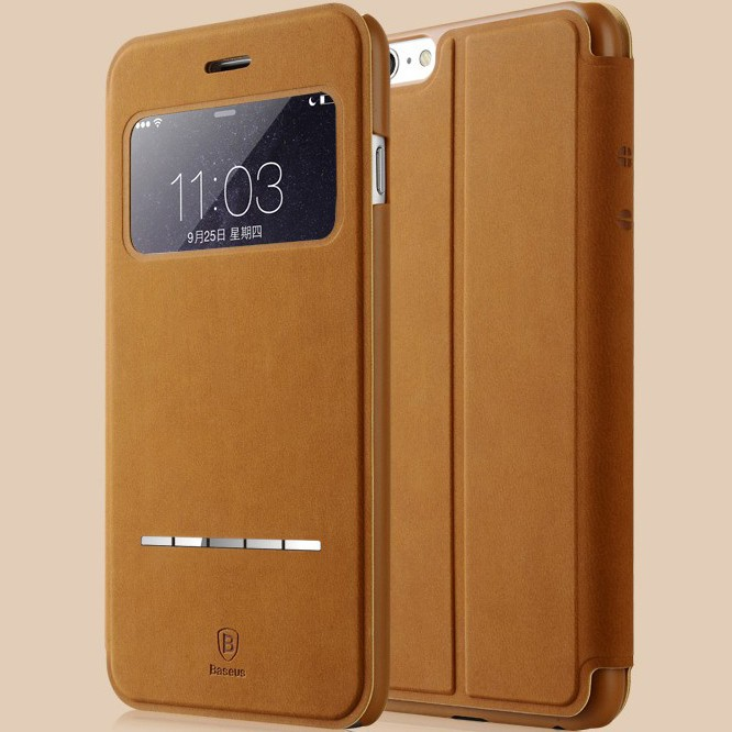 Original Baseus Terse Window Flip Leather Case For iPhone 6 6S Ultra Thin Smart Sleep Phone Cases For iPhone 6 / 6S Plus 5.5 Bag(China (Mainland))