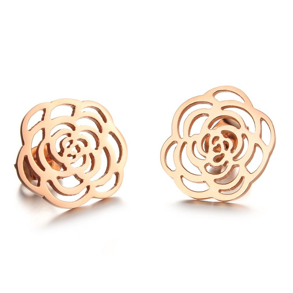 2015 Freeshipping Edition Accessories Hollow Pattern Rose Gold Plated Titanium Steel Stud Earrings Ge267 - kiki fashion jewelry ( worldwide store)