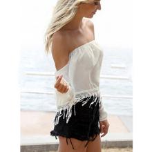 2016 Sexy Plain Simple ocasional Tops de marca blanco desnudo hombro de la raya vertical lazo de encaje blusa suelta Top para mujeres X15-2(China (Mainland))