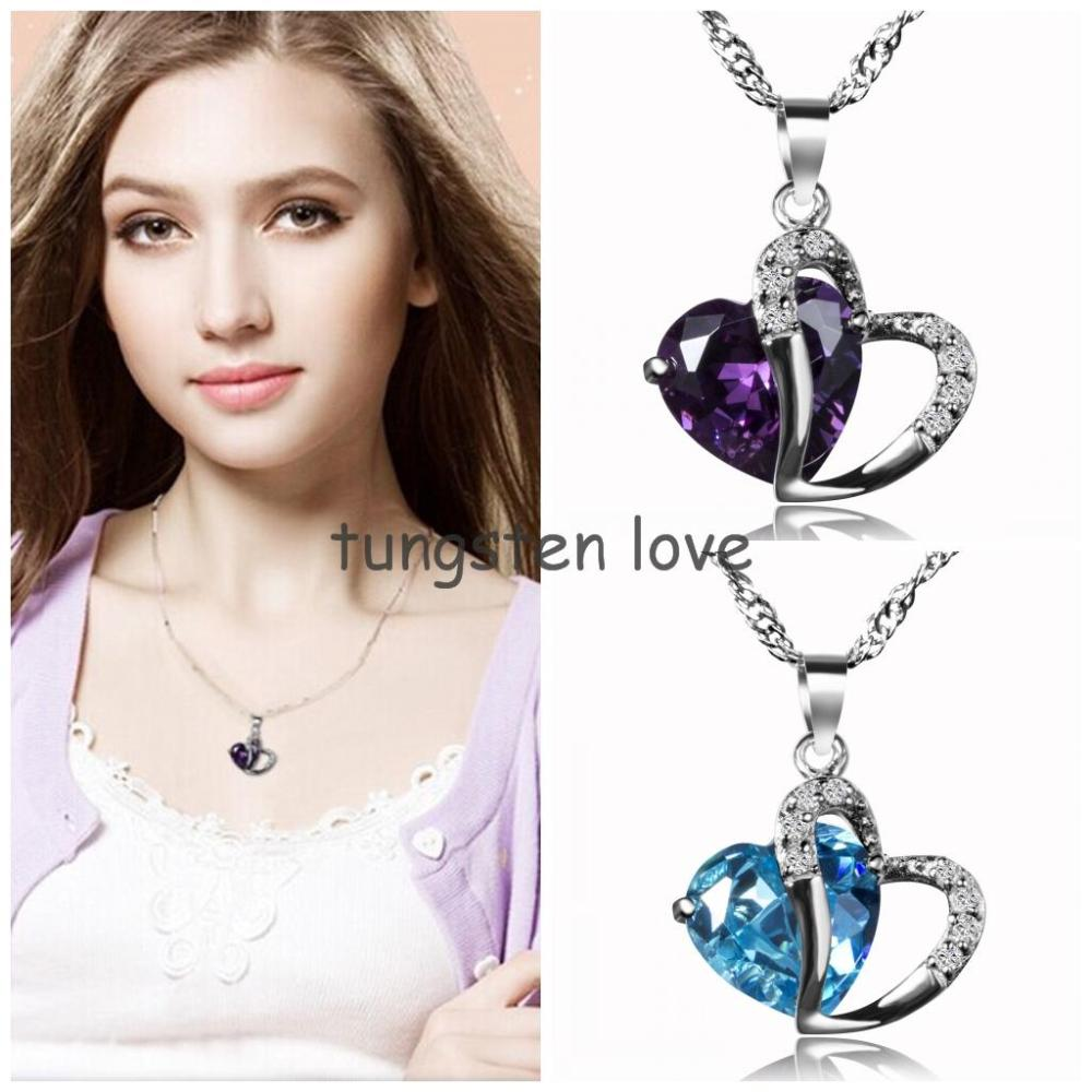 Fashion 925 Sterling Silver Heart Necklace Crystal Pendant Necklaces With Silver Chain For Women Ladies Gifts Multicolor colares(China (Mainland))