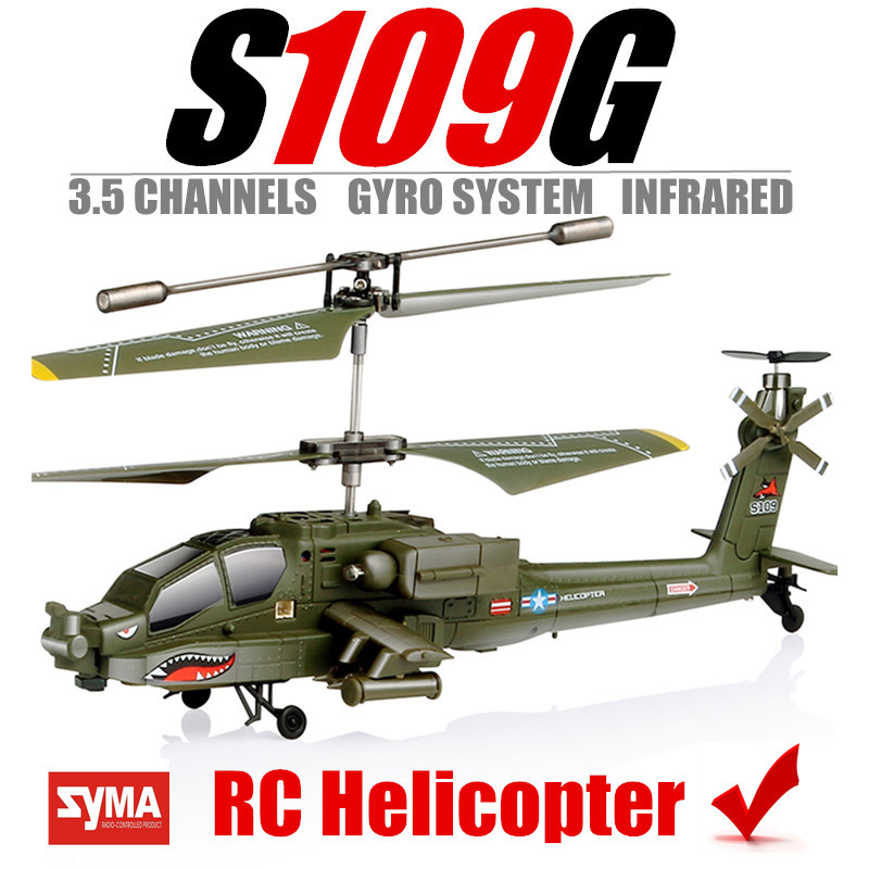 RC Helicopter SYMA S109G Drones Quadcopter mini Apache simulation plane 3.5-Channel Gyro System Infrared Free shipping(China (Mainland))