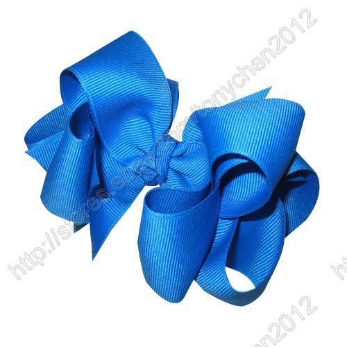 """4"""" Solid geschichteten Boutique chunky haarschleife kopfbedeckungen königsblau 12 stück(China (Mainland))"""