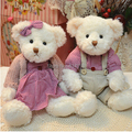 Free shipping 28cm 2pcs pair mini couple teddy bear with cloth plush doll stuffed toy best