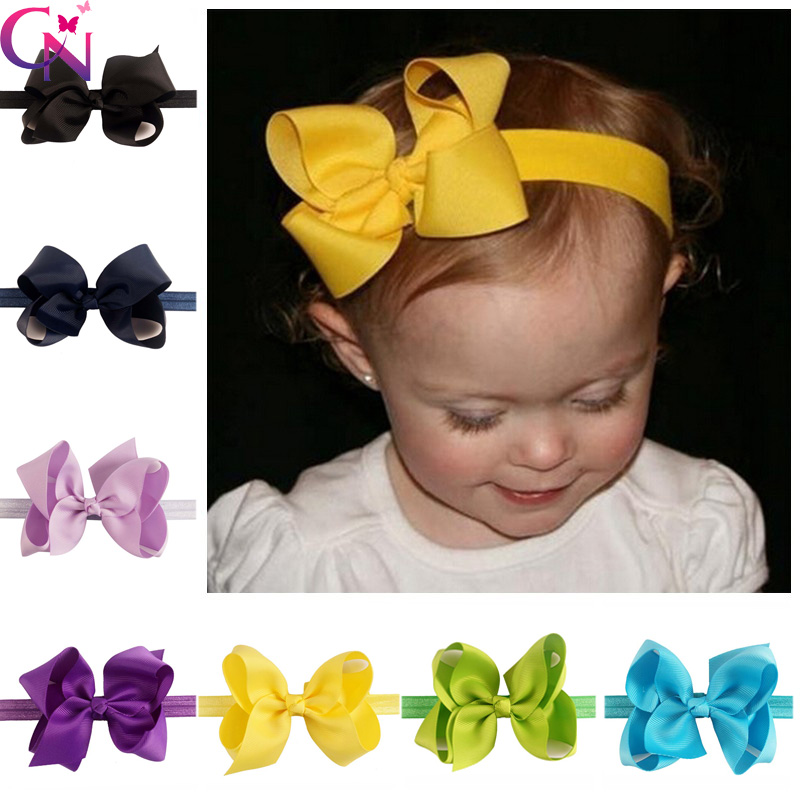 24 Pcs/lot New Fashion Handmade Solid Bow Headband For Baby Girls Toddler Boutique Elastic Hairband Hair Accessories Headwear(China (Mainland))
