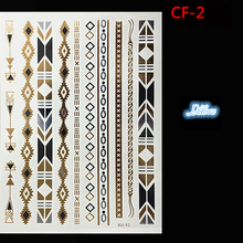 Temporary tattoo fashion metal gold and silver tattoo stickers style of temporary tattoo body art tattoo design jewelry necklace