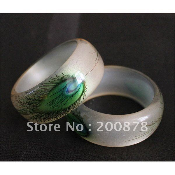 BB-178 India hand painted Peacock tail cuff bangle,slim white transparent,best offer,low MOQ