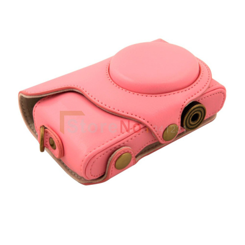 Free shipping + tracking number New PU Leather Camera Case Bag for Samsung NX Mini Digital Camera 9mm Lens Strap Pink(China (Mainland))