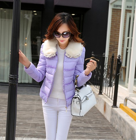 Winter fur collar short coat design female 2014 fashion cotton-padded jacket winter wool women - Rose girl store