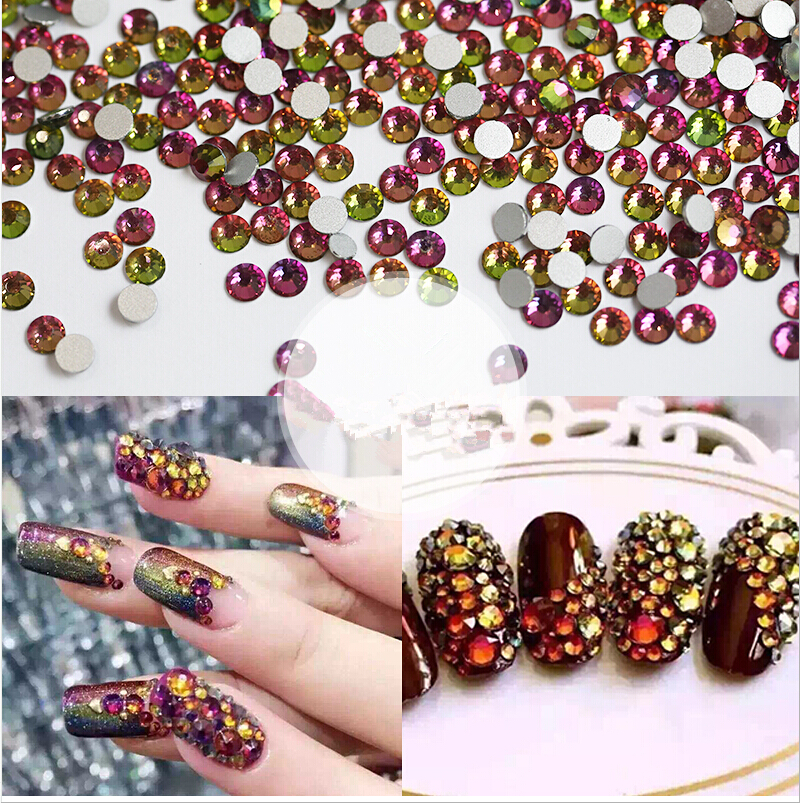 1440pcs/Lot, ss3 (1.3-1.5mm) Rainbow Flat Back ( Nail Art decorations ) Non Hot Fix Glue on Rhinestones for nail jewelry<br><br>Aliexpress