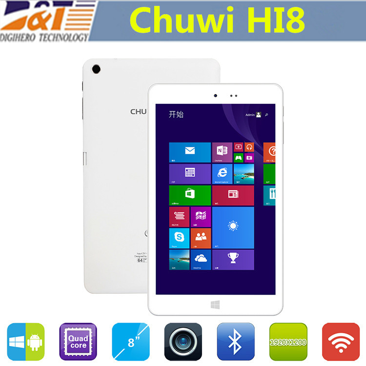 Original Chuwi HI8 Windows 8.1+Android 4.4 Dual boot tablets pc Intel Z3736F Quad Core 2GB/32GB 8 inch 1920*1200 Multi Language(China (Mainland))