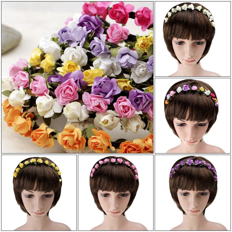 New Bride Boho Floral Flower Hairband Head band bijoux de tete Wedding Hair Pins Women Wedding Head Band With Flowers(China (Mainland))
