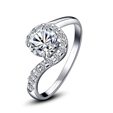 2014 Fashion Rings for Women Simulated Diamond Jewelry 925 Sterling Silver Wedding Ring Gift Party JZ5501