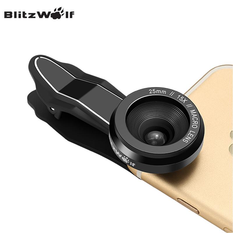 BlitzWolf Camera Lens Optical 15X Macro Lens 25mm Microscope Photography Mobile Phone Lens Kit Clip-on Universal Smartphone