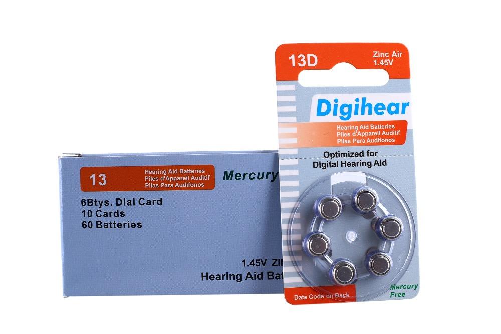 60 PCS Digihear High Performance Hearing Aid Batteries. Zinc Air 13/P13/PR48 Battery for BTE Hearing aids. Free Shipping!<br><br>Aliexpress