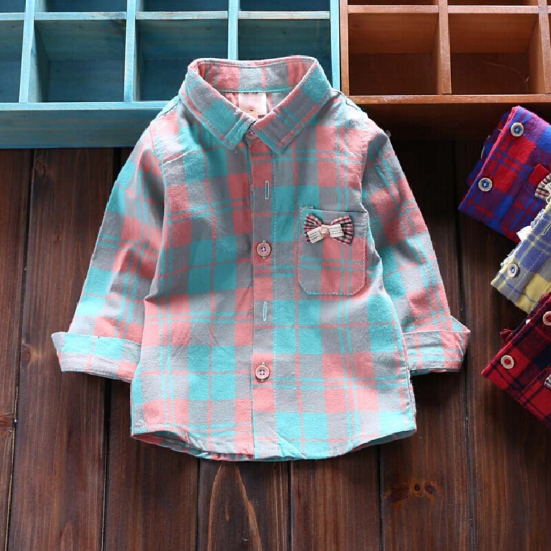 2016 Spring Baby Girls Blouse Long Sleeve Plaid Casual Blouses With Pocket Kids Shirts For Girl Size 4-30 Months(China (Mainland))