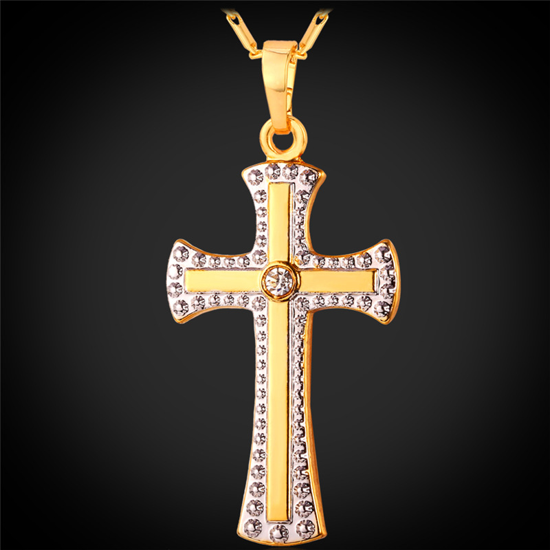 Two Tone Tic Gold Cross Necklace Pendant 18K Real Gold & Platinum Plated Women/Men Jewelry Religious Cross Necklace IP1406(China (Mainland))