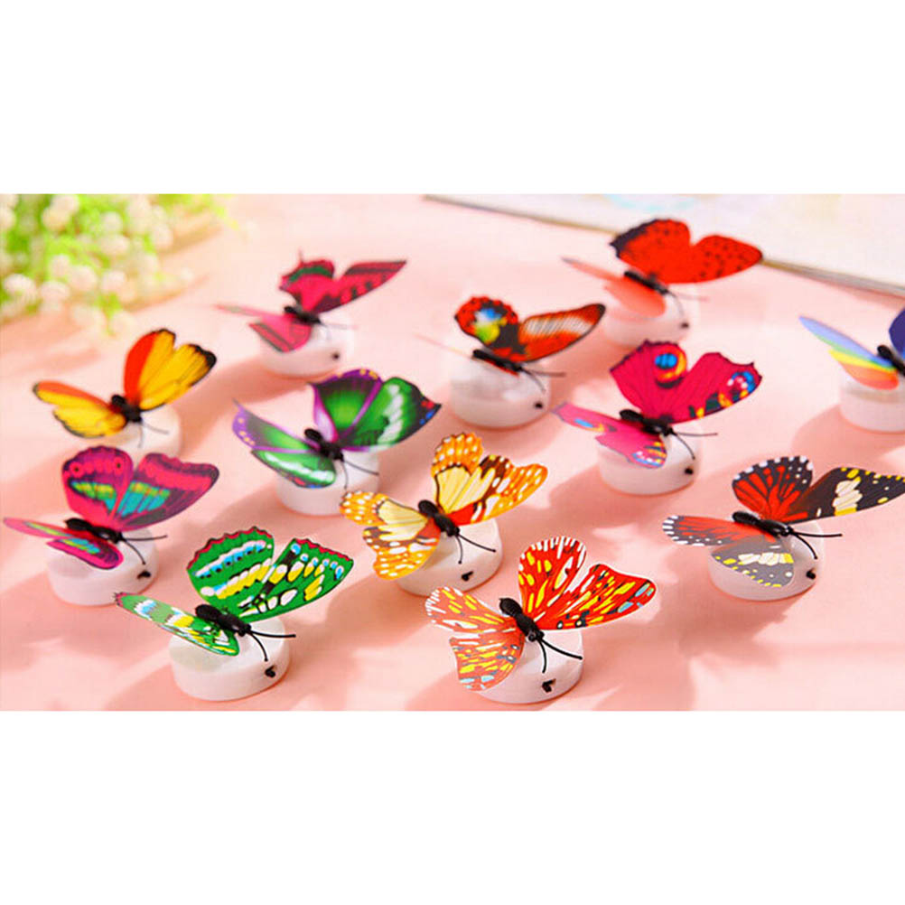 10pcs Colorful Changing Beautiful Butterfly LED Night Light Lamp With Suction Pad For Christmas Wedding Decoration Night Lamp(China (Mainland))