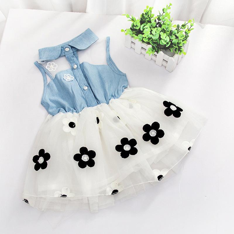 מכירות חמות נסיכה הילדה ילדים ג ' ינס ללא שרוולים טול חצאית מיני שמלה
