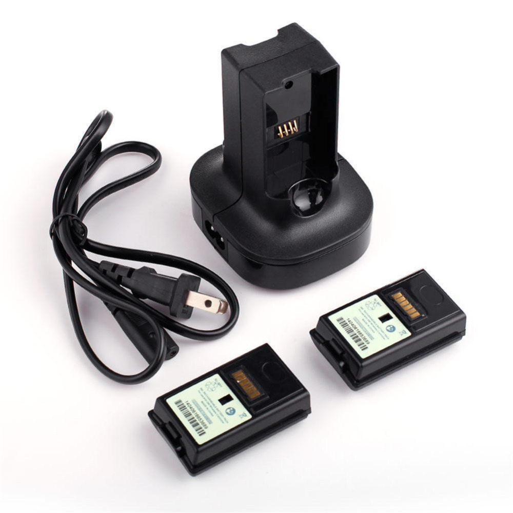 Black Charging Station Charger Base With 2X 4800mAh Rechargeable Battery For Xbox 360(China (Mainland))