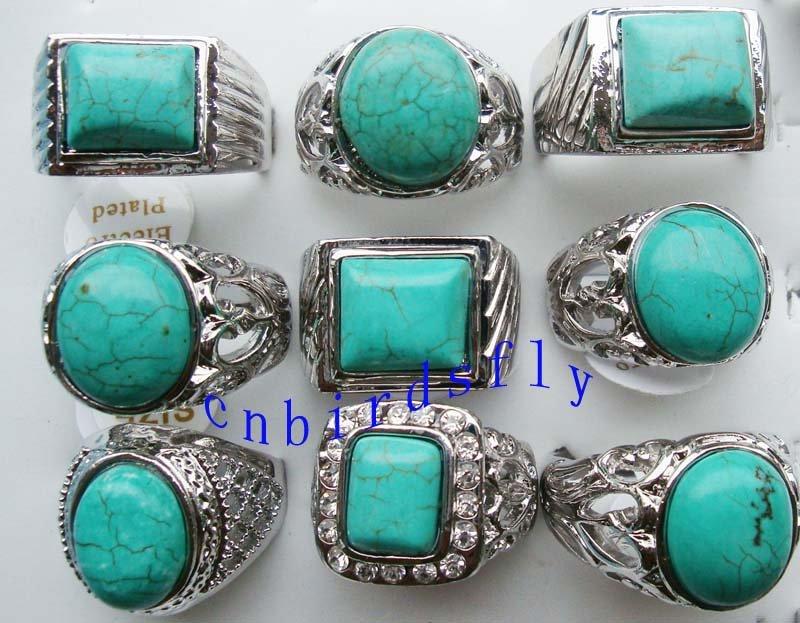 50pcs lot imixlot mens turquoise rings new trendy charming
