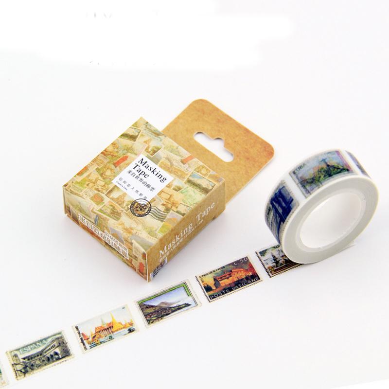 Гаджет  1 x cute vintage stamp diy decoration for scrapbooking masking tape adhesive tape kawaii stationery 10M None Офисные и Школьные принадлежности