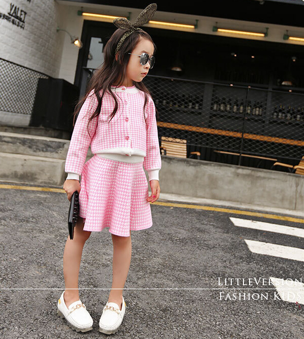 Toddler Girls Autumn Clothing Sets Korean Plaid Button Coats Cotton Children Princess Knited Skirts 5sets/LOT<br><br>Aliexpress