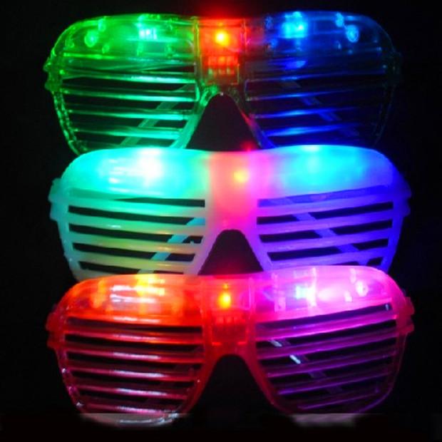 50pcs/lot Novelty funny toys 2015 new shutter fashion flash LED glasses glowing toys decorative for halloween decoration(China (Mainland))