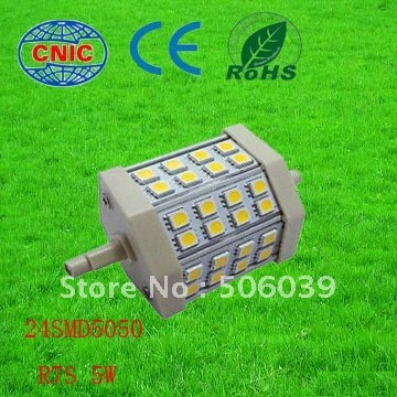 free shipping 24SMD 5w r7s 78mm bulb AC85-265V LED bulb