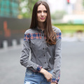 VERI GUDE Spring 2014 Female Shirt  British Style All-match Slim Corduroy Pure Cotton Long Sleeve Shirt